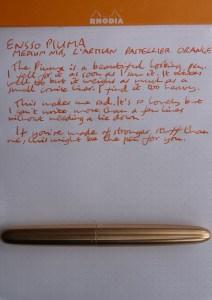 Ensso Piuma fountain pen handwritten review