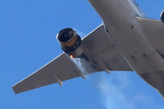 A United Airlines flight returns to Denver International Airport after its engine burst into flames.