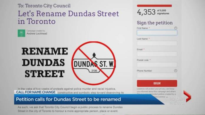 Click to play video 'Petition calls for the renaming of Toronto's Dundas Street amid anti-Black racism discussions'