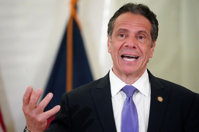 New York Governor Andrew Cuomo speaks at an event amid the COVID-19 pandemic in the Bronx borough of New York City, New York, USA, 26 March 2021