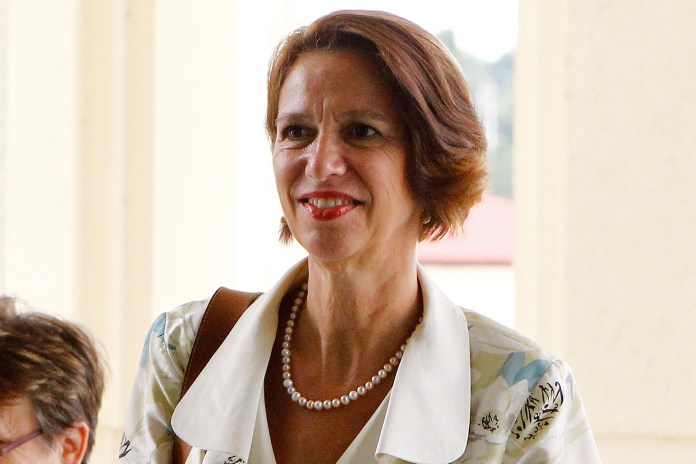 In this June 15, 2018, file photo, United Nations Secretary General's Special Envoy to Myanmar Christine Schraner Burgener arrives at the Parliament Building in Naypyitaw, Myanmar.