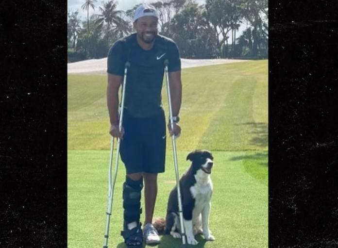 Tiger Woods Up On Crutches, Smiling in 1st Pic Since Crash