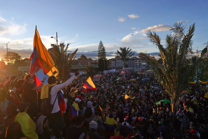 Demonstrators gather as protests enter their fourth week with a new national strike called by workers' unions, students and organizations demanding a series of social changes, in Bogota, Colombia May 19, 2021.
