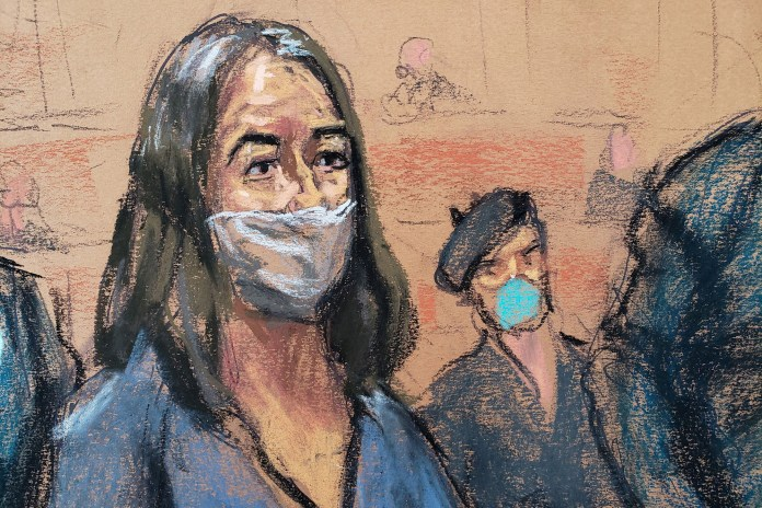 A courtroom sketch of Ghislaine Maxwell from her arraignment on April 23, 2021.