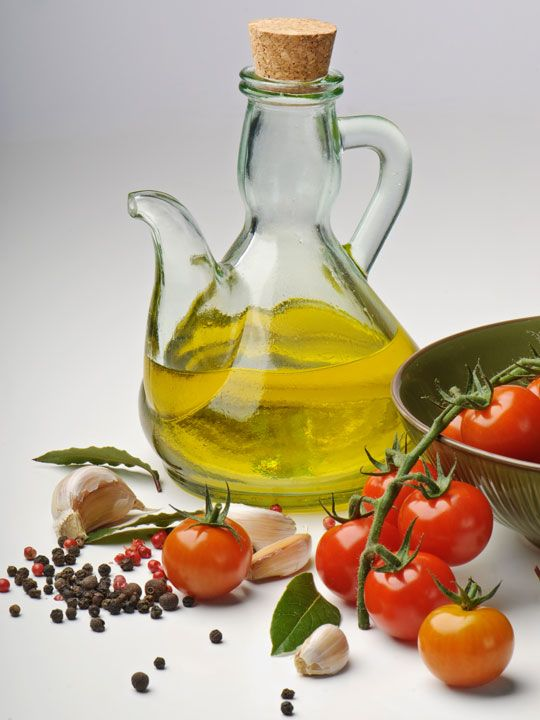 Olive oil and garlic and tomatoes