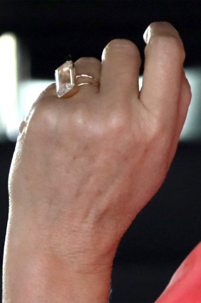 A close up of Sandra Lee's humongous new engagement ring.