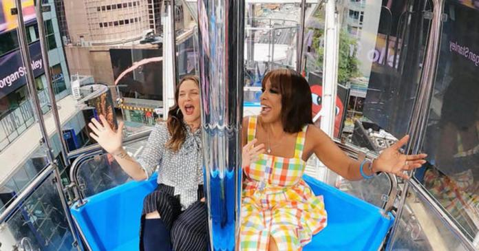 Gayle King and Drew Barrymore explore Times Square's newest attraction