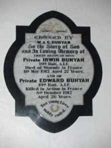 bunyan church plaque