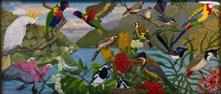 Birds of the Waterways, Panel 1. Designed by Dianne Hoath, completed in 2011.