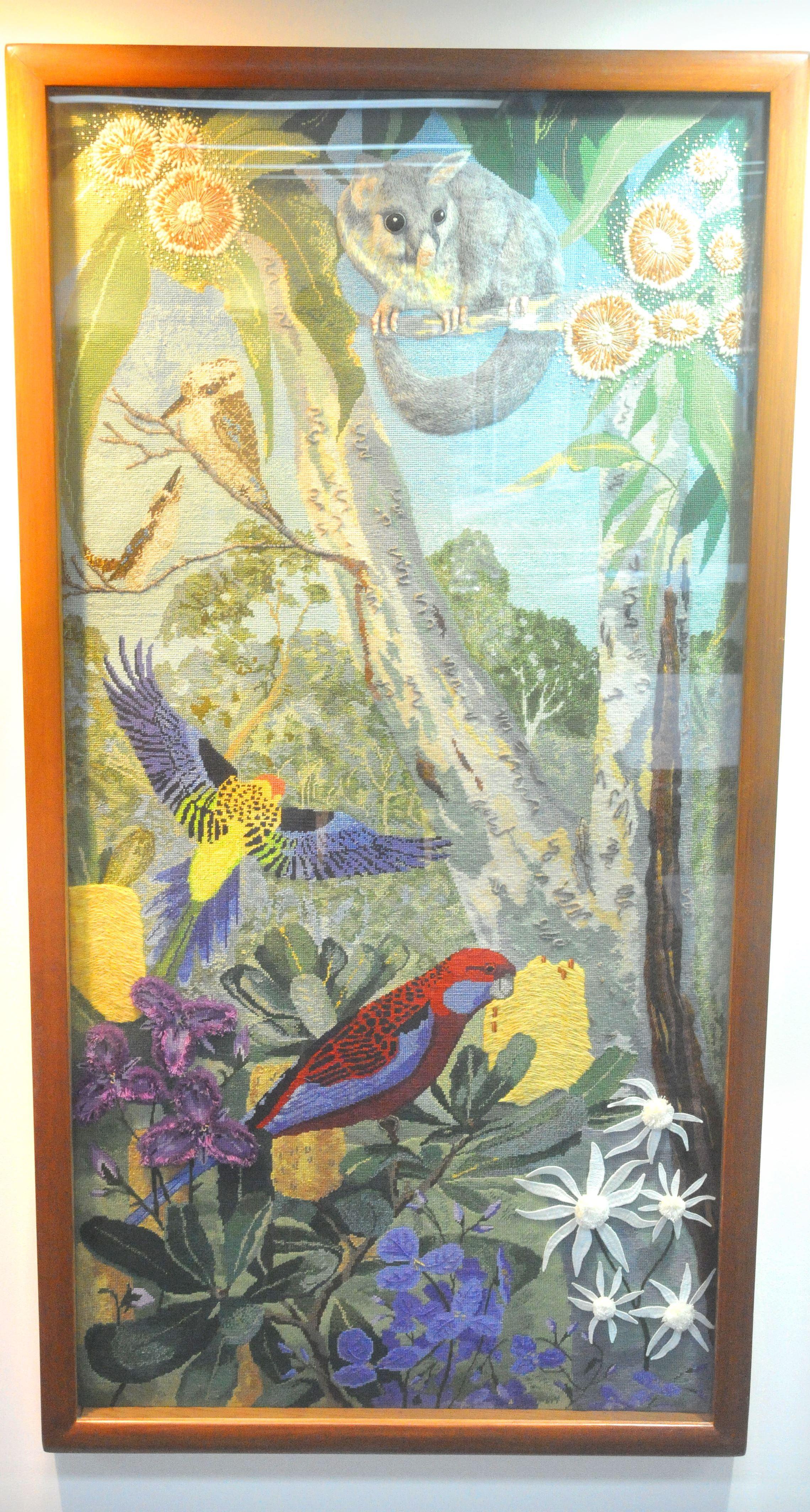 This panel features Kookaburras, Rosellas, Banksia, Brushtail Possum and Grey Gums.