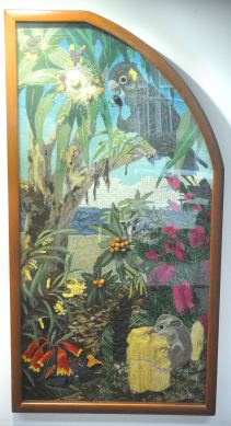 This panel features the Yellow-tailed Black Cockatoo, Christmas Bells, Bottlebrush and the Eastern Pygmy Possum.