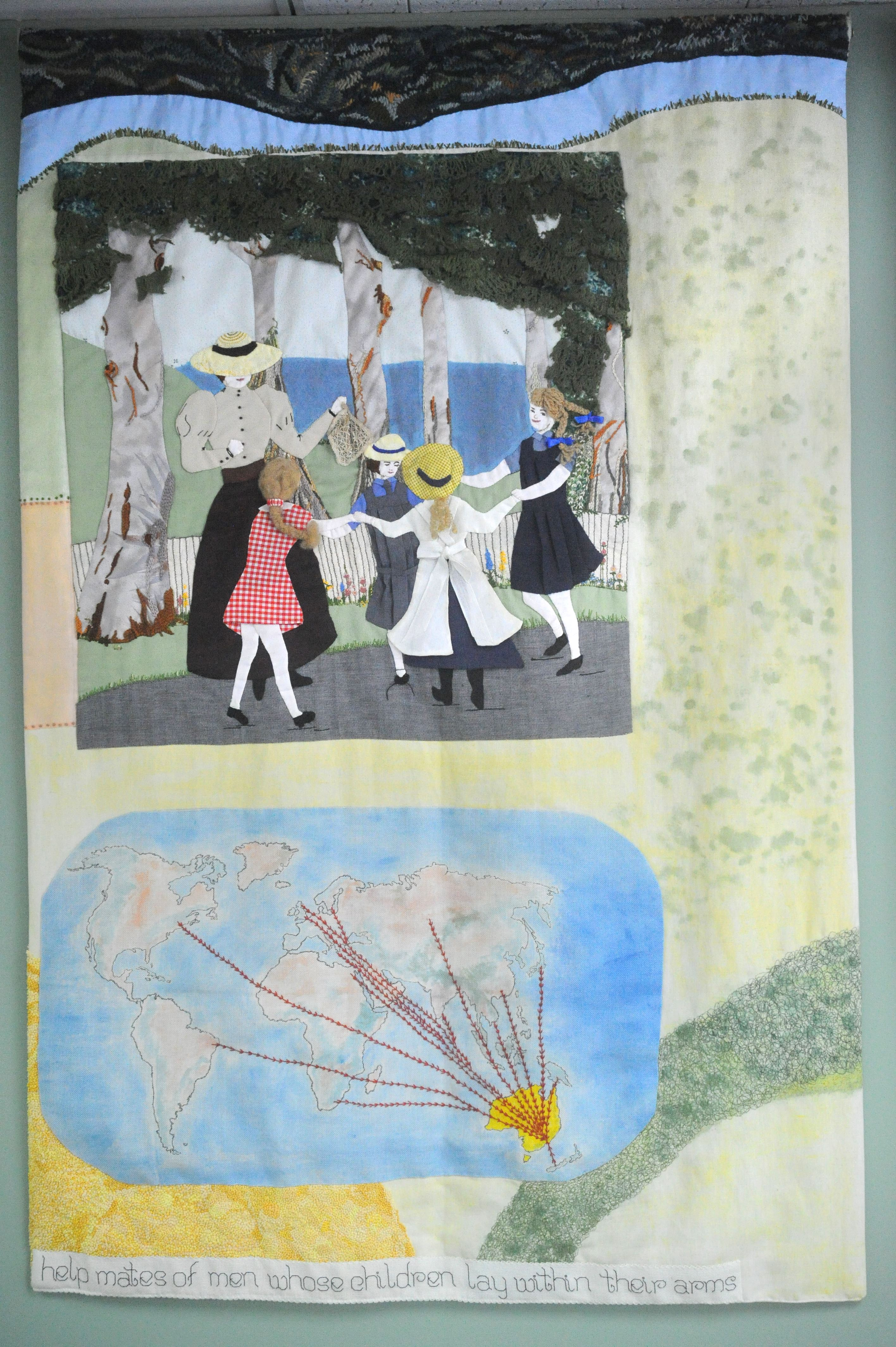 Represents the change over time of Penrith's population, the orchards and trees of the area and the children are wearing fashions from different periods since European settlement.