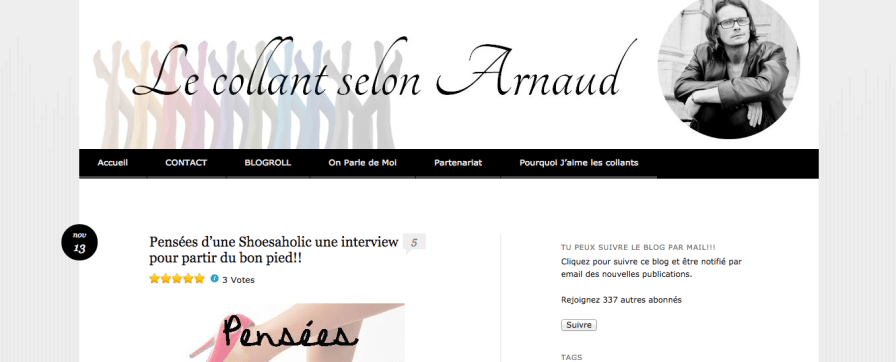 Interview sur le blog Le collant selon Arnaud