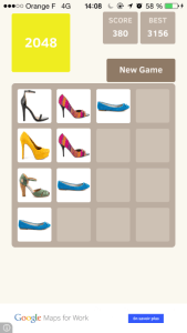 "Capture d'écran du jeu ""2048 High Heels"""