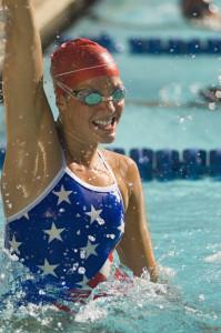 Swimmer Celebrating Victory
