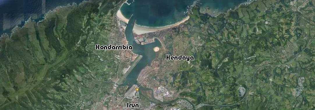 Mapa aereo ubicación pension europa, <b>Irun</b>, Hondarribia, <b>Hendaya</b>