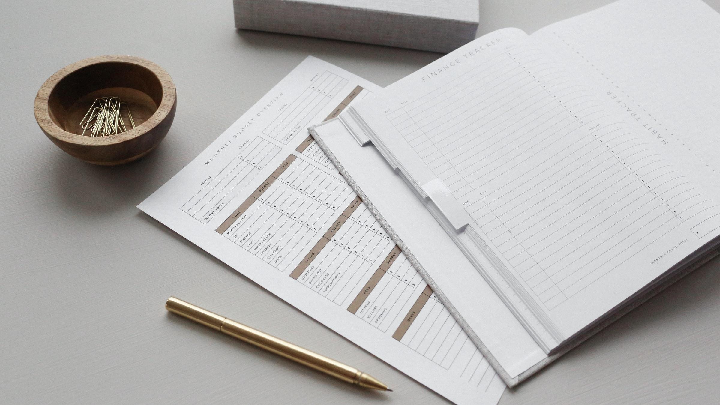 A blank finance tracker and budget sheet
