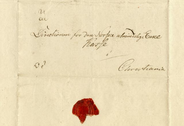 Skannet utgave av brev skrevet av Christian Fredrik i 1814, om opprettelse av den Norske almindelige Enkekasse