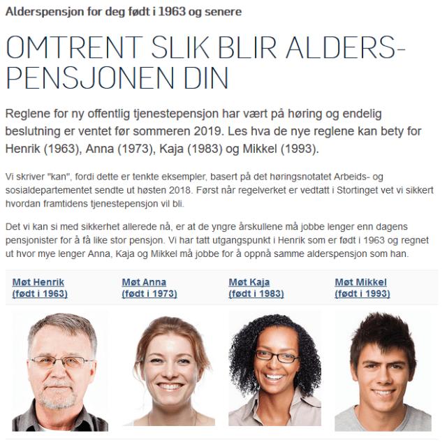 """Faksimilie fra spk.no fra artikkelen """"Omtrent slik blir alderspensjonen din"""""""