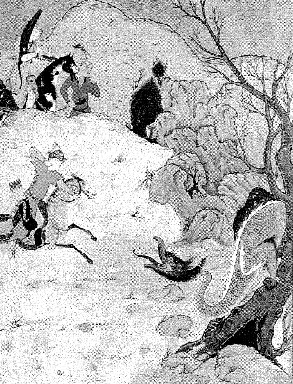 De draak die de schat bewaakt, wordt overwonnen. Hemseh, Nisami.  British Museum, London