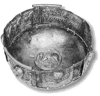 Cauldron-Gundestrup  ketel. Verguld zilver. Denemarken, 1e of 2e eeuw v~Chr. Nationaal Museum, Kopenhagen.