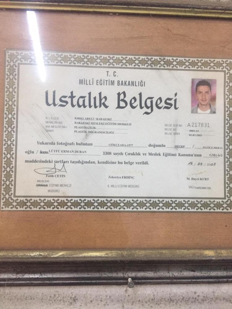 Derman Usta - Ustalık Belgesi
