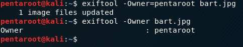 exiftool -Owner=pentaroot bart