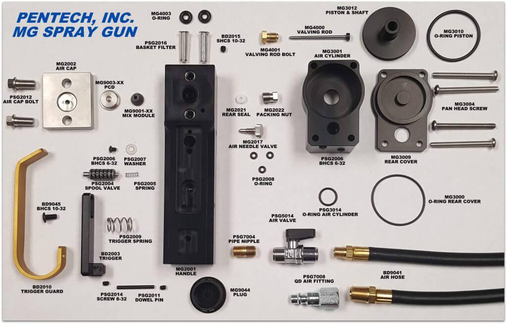 Pentech MG Spray Gun Parts