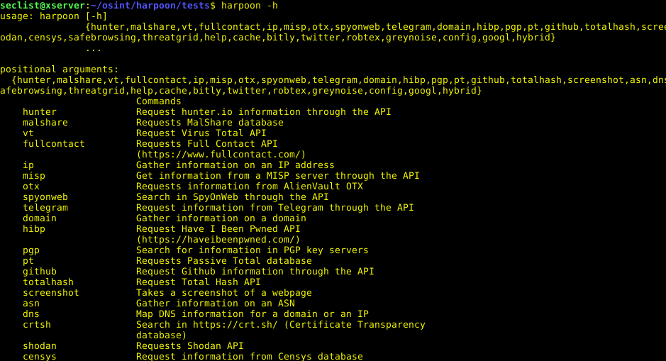 Harpoon - CLI Tool For Open Source And Threat Intelligence