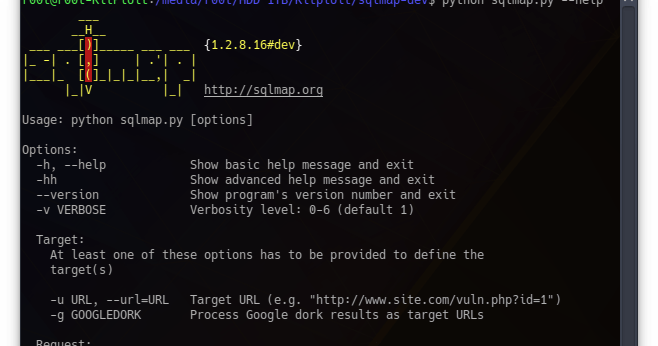 SQLMap v1.2.8 - Automatic SQL Injection And Database Takeover Tool