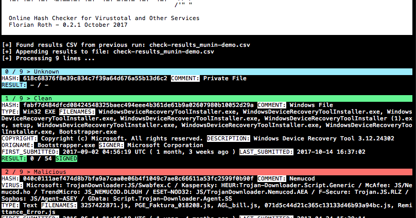 Munin - Online Hash Checker For Virustotal And Other Services