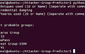 Attacker-Group-Predictor - Tool To Predict Attacker Groups From The Techniques And Software Used