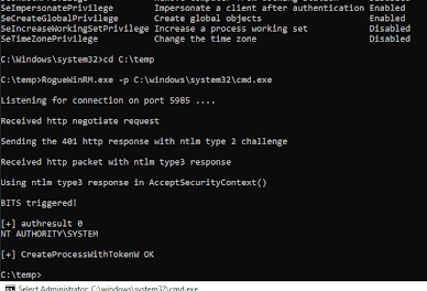 RogueWinRM - Windows Local Privilege Escalation From Service Account To System