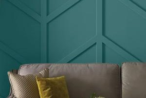 Dimensional wall feature painted with Beauti-Tone paint at Penticton Home Hardware.