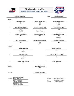 Sep 4th Brooks line-up
