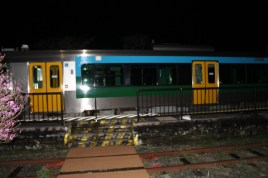 The train at night.