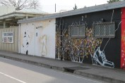 Handprint paintings on the walls in Chiba.