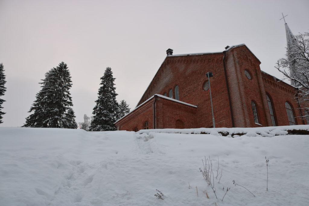 A close picture of the Liperi Church's back