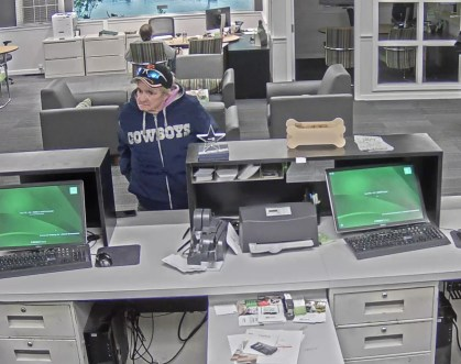 Anyone who recognizes the suspect pictured here, who fraudulently withdrew thousands of dollars from accounts at two area bank branches, is asked to contact Groveland Police Detective Joshua Sindoni at 978 521-1212. (Courtesy Photo)