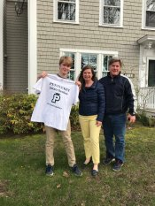 From left: Pentucket senior Conor O'Neil, Nora O'Neil and Thomas O'Neil, of West Newbury. Pentucket held a parade and delivered signs and t-shirts to the senior class on Tuesday. (Courtesy Photo Pentucket Regional School District)