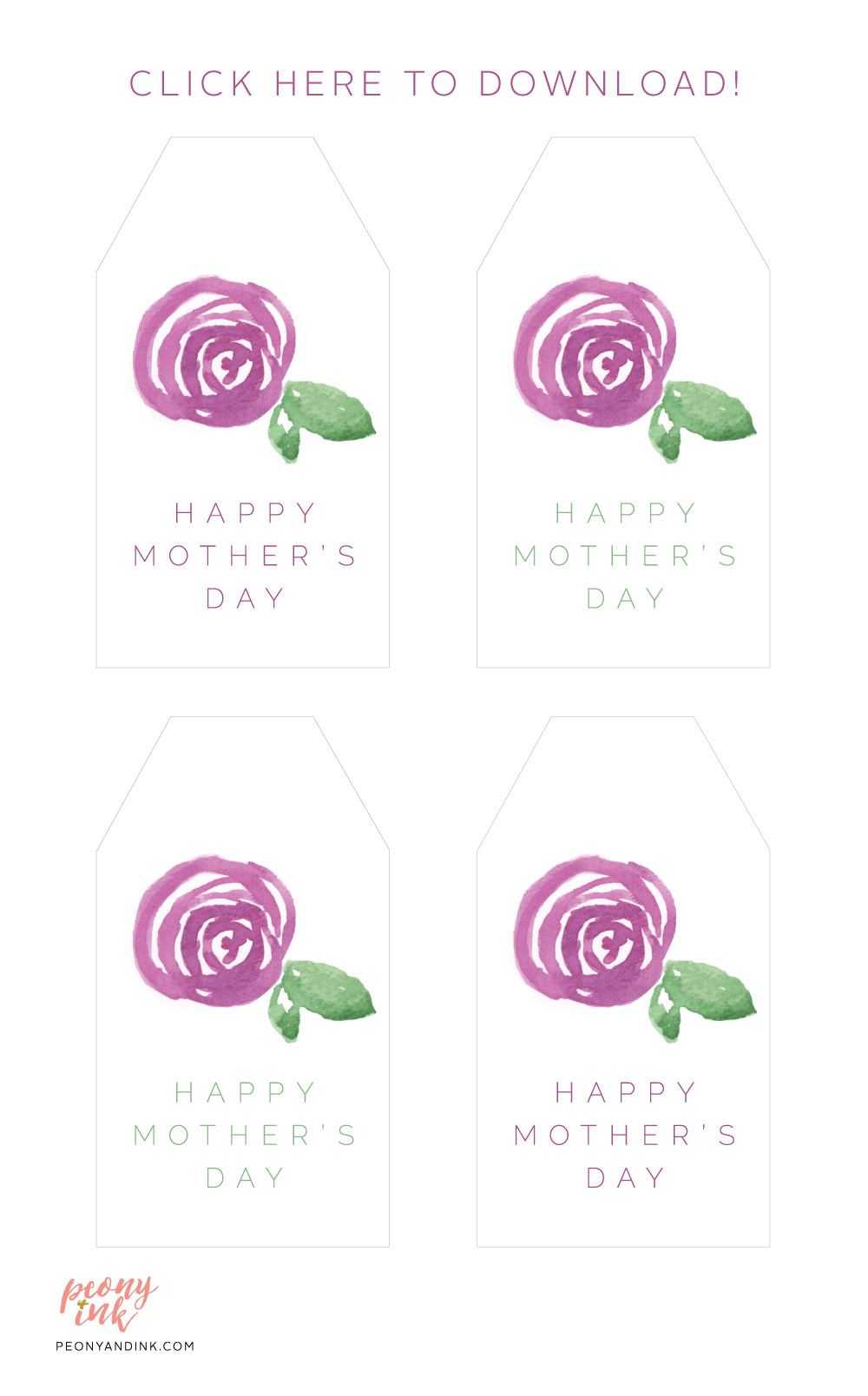 photo regarding Free Printable Mothers Day Tags called Cost-free Down load: Printable Moms Working day Reward Tags Peony + Ink