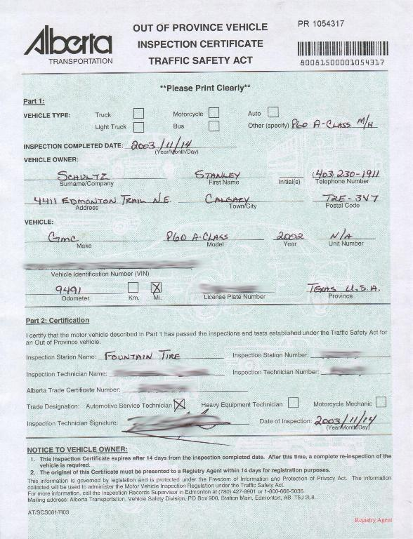 Alberta Motor Vehicle Inspection Form Automotivegarage Org