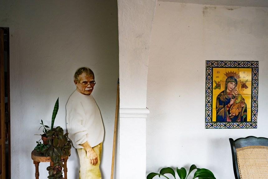 A cardboard cutout of Oscar Lopez Rivera greets visitors, June 2018.