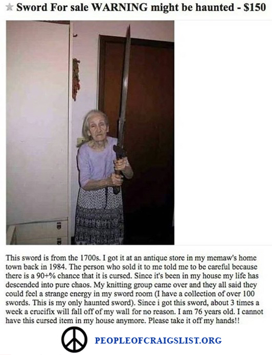 Craigslist Grandma with Sword