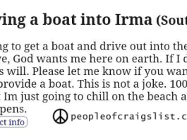 Craigslist driving a boat into Irma