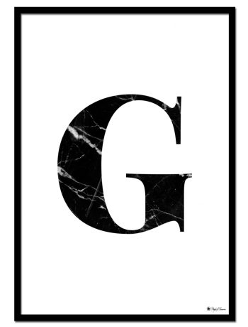 G - Marble Letter poster | Minimalistic typography poster with black marble texture.