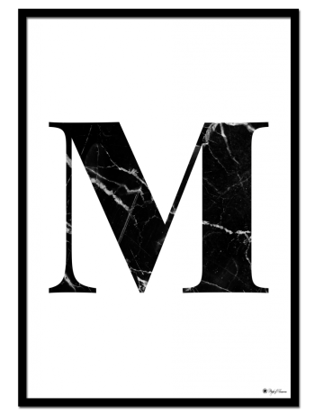 M - Marble Letter poster | Minimalistic typography poster with black marble texture.