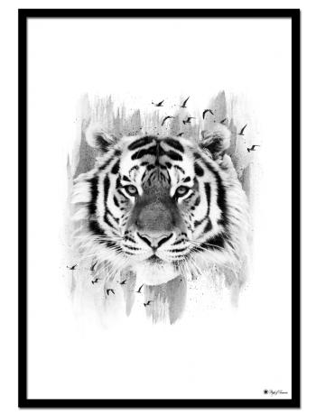 The Guardian poster | Artistic print of a tiger with brush art elements.