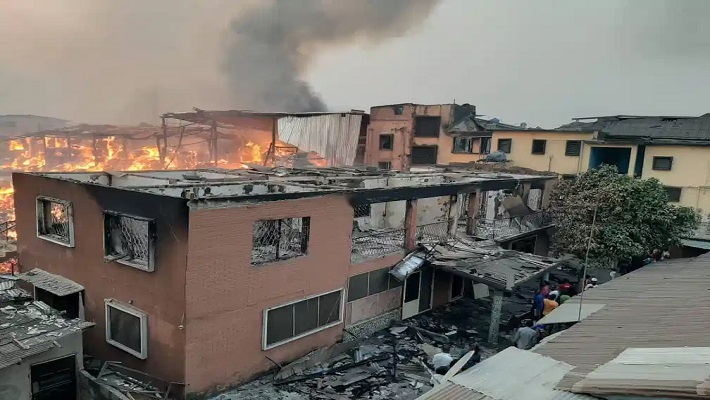 A building on fire used to illustrate the story.