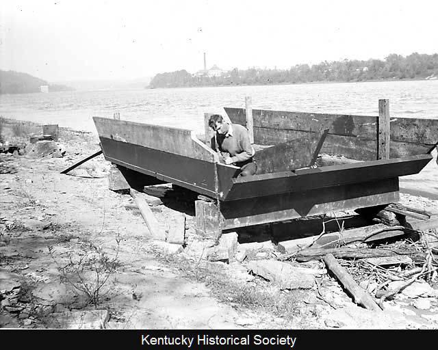 Harlan Hubbard building his shanty boat